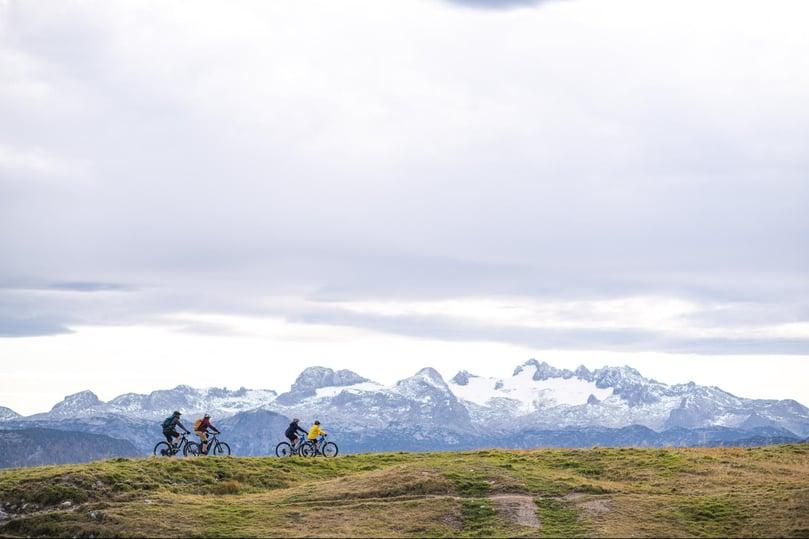 Familie mit E-Bikes in der Natur