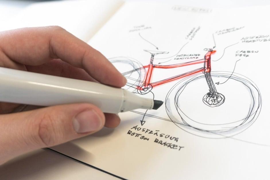 Design Skizze eines woom Fahrrads